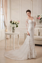 MDBRIDAL Women Embroidery Lace Women Bridal Gown Mermaid Sheer Long Sleeves Sexy Backless Wedding Dress