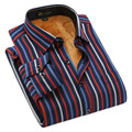 Outono Dos Homens Listrado Camisa Térmica de Veludo Acolchoado Quentes Camisas de Manga Comprida Masculina baratos-roupas-china Qualidade Moda Casual camisas