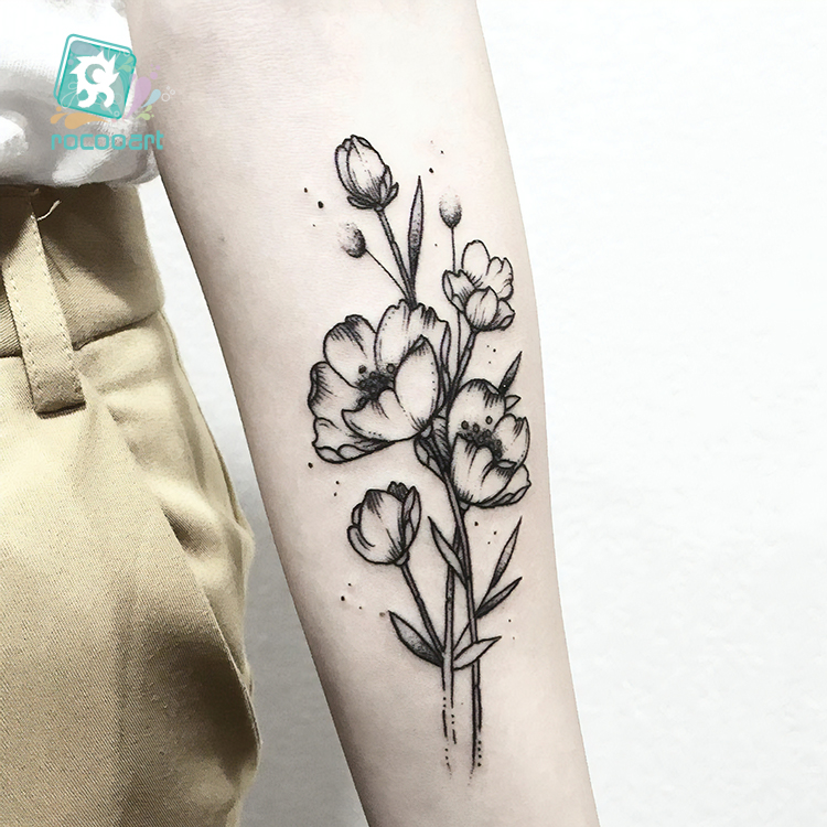 HC300-339 Body Art Black White Drawing Little Element Small Flowers Floral Ballet Water Transfer Temporary Fake Tattoos Sticker 1
