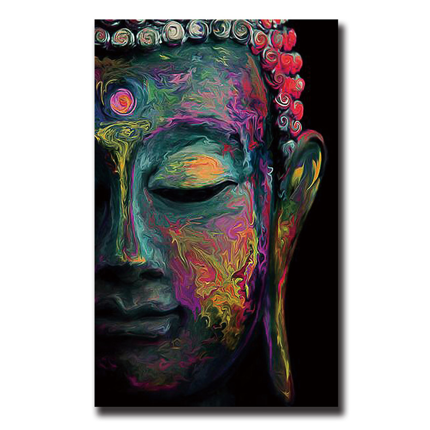 Buddha canvas painting wall art poster meditation abstract for How paint on canvas