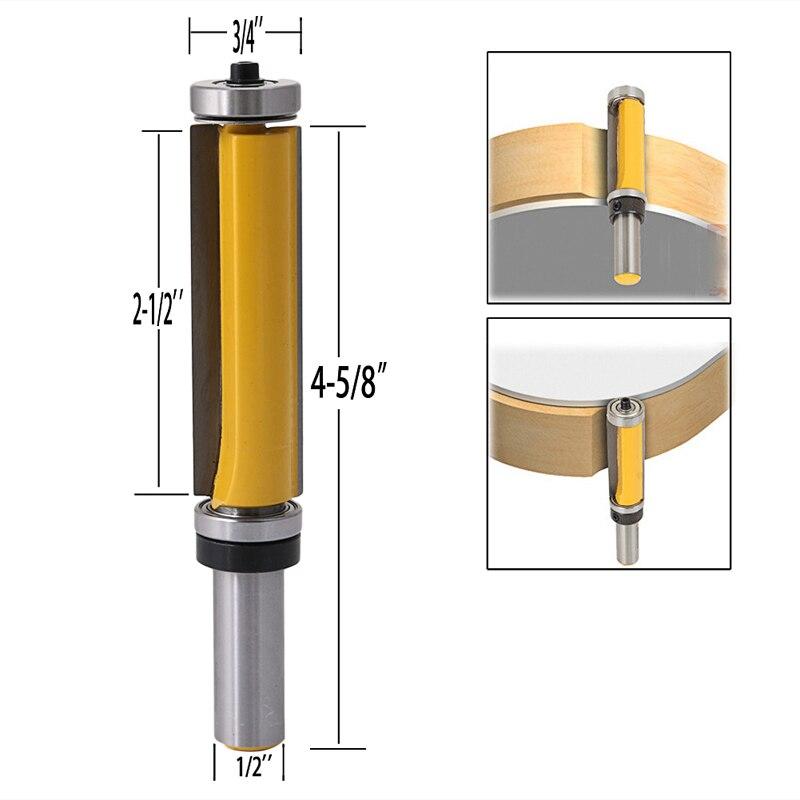 1/2 Shank Pattern Flush Trim Router Bit 2-1/2 Cutter Top & Bottom Bearing End Mill