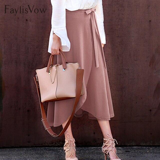 f8def0d496 5XL 6XL volantes vendaje más Falda talla grande mujeres alta cintura  Irregular Split plisado faldas ropa