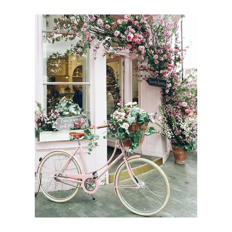 Diy 5d Elmas Boyama Bisiklet Peyzaj Elmas Nakış Sticker Ev