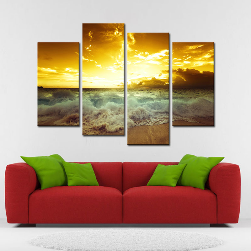 4 Pieces Pretty Modern Wall Art Sea Wave Seascape Painting Printed On  Canvas For Home Office