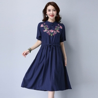 2017 New Arrival Women Casual Cotton Dresses Autumn embroidery summer Long Dresses art Pleated Dresses high quality