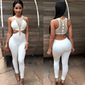 Verano de las mujeres Elegantes de Una Pieza Del Hombro Backless Zipper Hollow Body Blanco Negro Largo Atractivo Del Partido Del Club Bodycon Jumpsuit