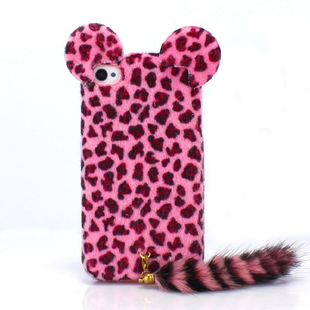 finest selection d982a 0046f US $3.79  Cute 3D Phone Cover Winter Leopard print Lovely 3D Cat Shape w  Tail Plush FUR Soft phone Case For Iphone 6 4.7