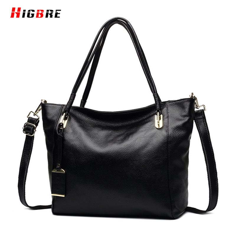 ФОТО 2017 Women Cowhide Leather Classic Tote Bag For Shopping Large Capacity Messenger Bag Ladies Black Shoulder Bag Casual Travel
