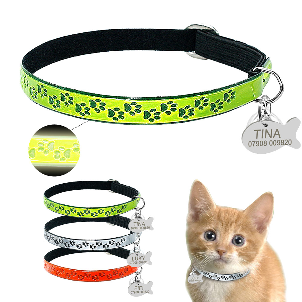 Personalized Cat Collar Fluorescence Kitten Cats Bell Collars Free Engarving Glowing With Engraved Id Tag Paw Print Necklace