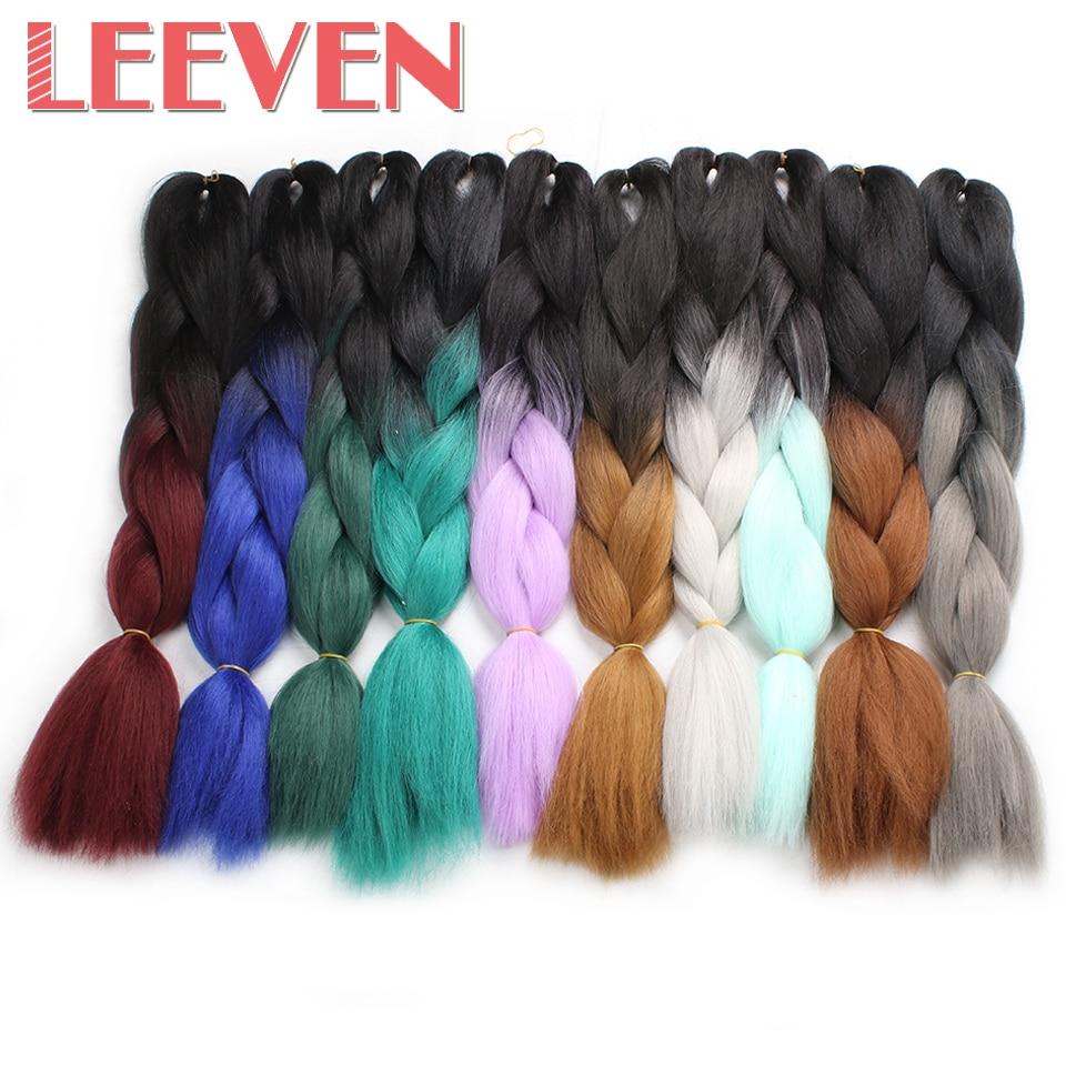 Leeven 100g 24'' Jumbo Braids kanekalon synthetic ombre braiding hair Burgundy Blue Pink xpressions crochet hair extension 1PCS