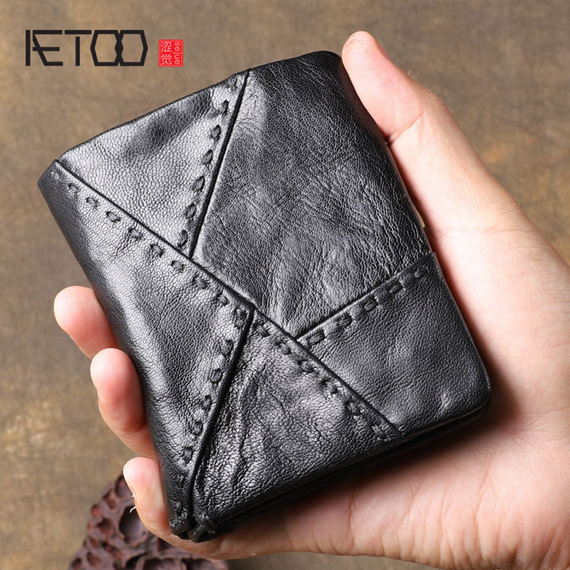 AETOO Original retro leather short wallet First layer sheepskin multi function stitching vertical wallet Youth coin