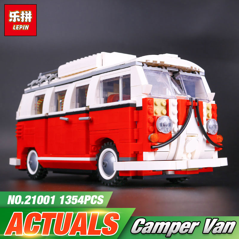 2017 New LEPIN 21001 Technic Series 1354Pcs Classical T1 Camper Van Model Building Kits Bricks Educational Toys Compatible 10020 lepin 21001 creator volkswagen t1 camper van building block compatible legoe 1352pcs educational toys for children