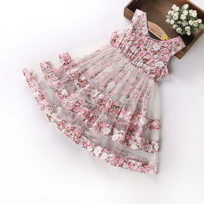 Girls Lace print Dress 2018 Summer cute toddler girl clothes Kids Party Wedding Dresses For Girls costume 3 4 <font><b>5</b></font> 6 8 9 10 12Years image