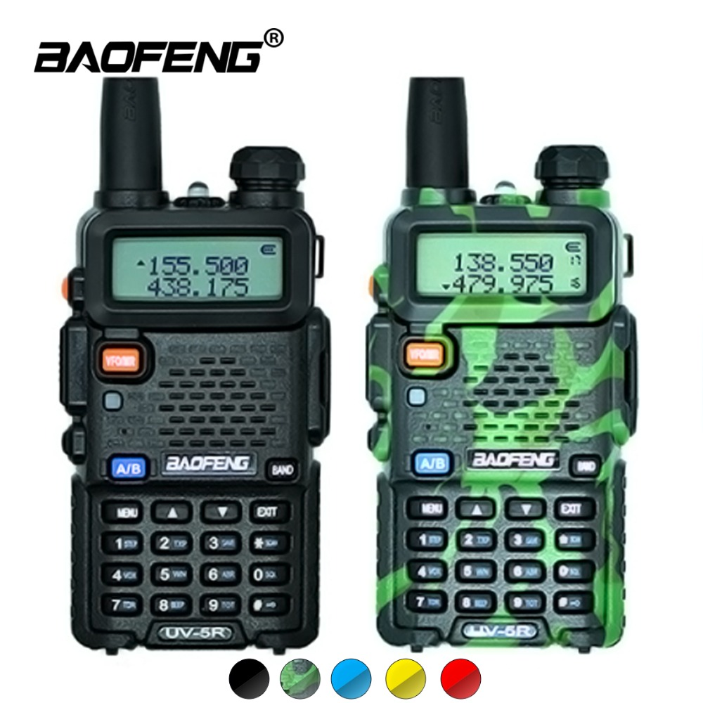 2 pz Baofeng UV-5R Walkie Talkie UV5R CB Stazione Radio 5 w 128CH VHF UHF Dual Band UV 5R Due way Radio per la Caccia Ham Radio