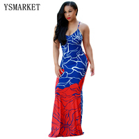 2018 Boho Style Women Off Shoulder Sling Robe Party Dress Sexy Spaghetti Strap Long Maxi Dress