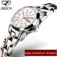 JSDUN Small Dial Women Mechanical Watches Week/Date Top Brand Luxury Business Ladies Watch Clock Steel Belt Automatic Wristwatch