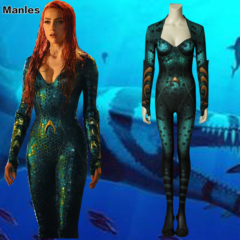 Movie Aquaman Costume Mera Cosplay Amphitrite Fancy Halloween Costumes 4D Print Spandex Queen Disguise For Woman With Cuff Adult-in Movie & TV costumes from Novelty & Special Use    1