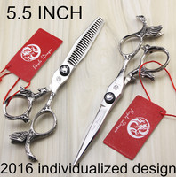 High quality 5.5 inch angel personality handle hair scissors barber scissors flat cut teeth cut thinning scissors with case