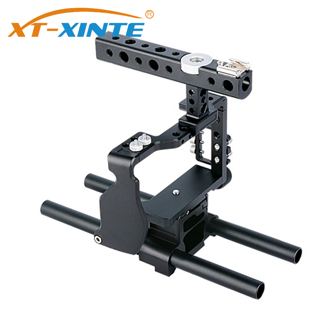 XT-XINTE Professional Camera Cage Compatible for Sony A6000 Mirrorless System Camera Metal Protective Case with Handle Grip Kit