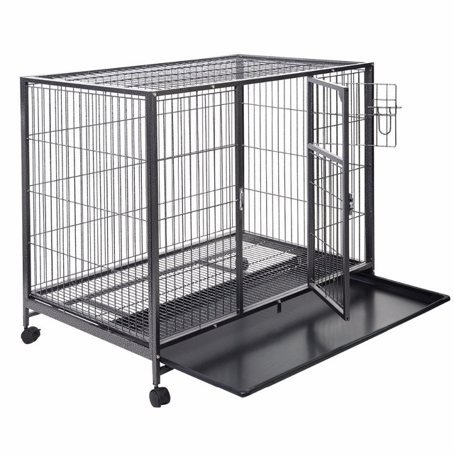 "Heavy Duty Black 42"" Dog Crate Cage Kennel Metal Wire Pet Playpen w/ Tray New 	PS5803"