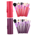 Portable 12Pcs/Set Pro Soft Nylon Makeup Brush Set With PU Leather Round Brush Pen Holder Storage Box Makeup Cosmetic Tools GUB#