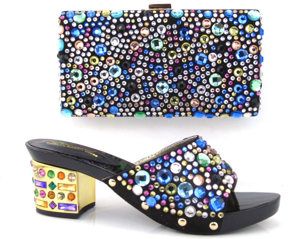 ФОТО Italian Matching Shoe And Bag Set With Stones Good Quality Italy Shoe And Matching Bag Set For Party Women Pumps