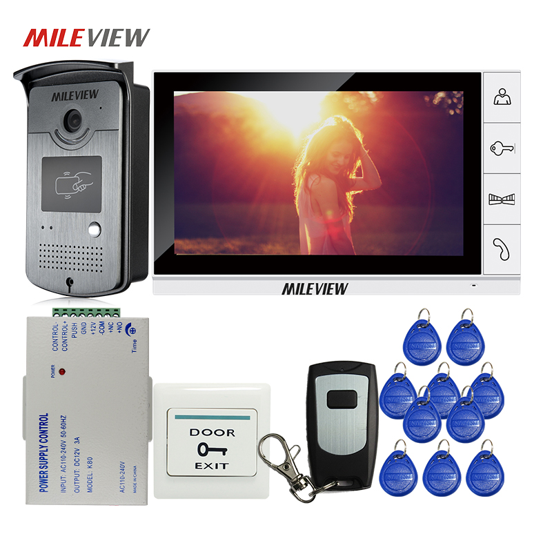 FREE SHIPPING 9 Color Screen Video Door Phone Intercom System + 1 White Monitor + Waterproof RFID Doorbell Camera + Remote Kit jeruan home 7 video door phone intercom system kit rfid waterproof touch key password keypad camera remote control in stock