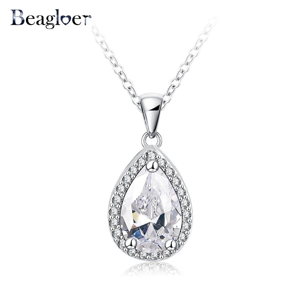 Brand Classic Teardrop Necklaces & Pendants Silver Color Micro Inl Zirconia Necklace Women Wedding Jewelry CNL0058