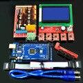 Envío Gratis 1 unid 2560 R3 + 1 unid RAMPAS 1.4 Controller + 5 unids Módulo controlador A4988 Stepper 1 unid 12864 controlador de Impresora 3D kit