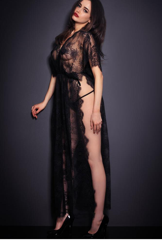 Hot Sexy Black Sheer Lace Robe with Thong New Arrival Sleepwear Lingerie Dress Sex Set Drop Shipping Online Sales