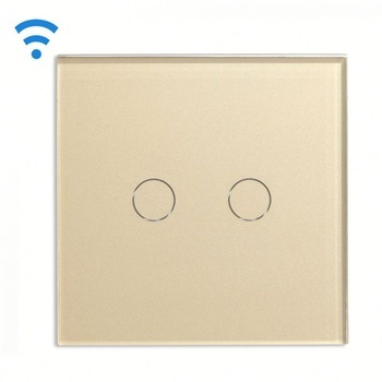 Bseed Wireless Touch Switch 2 Gang 1 Way Dimmer Switch With Remote Control Gold Touch Switch Dimming Led Eu Uk Us Au smart home us black 1 gang touch switch screen wireless remote control wall light touch switch control with crystal glass panel