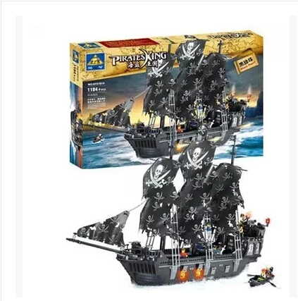 Black Pearl Building Blocks KAIZI KY87010 Pirates of the Caribbean ship self-locking bricks Assembling toys 1184pcs set  gift kazi 1184 pcs pirates of the caribbean black pearl ship large model christmas gift building blocks toys compatible with lepin
