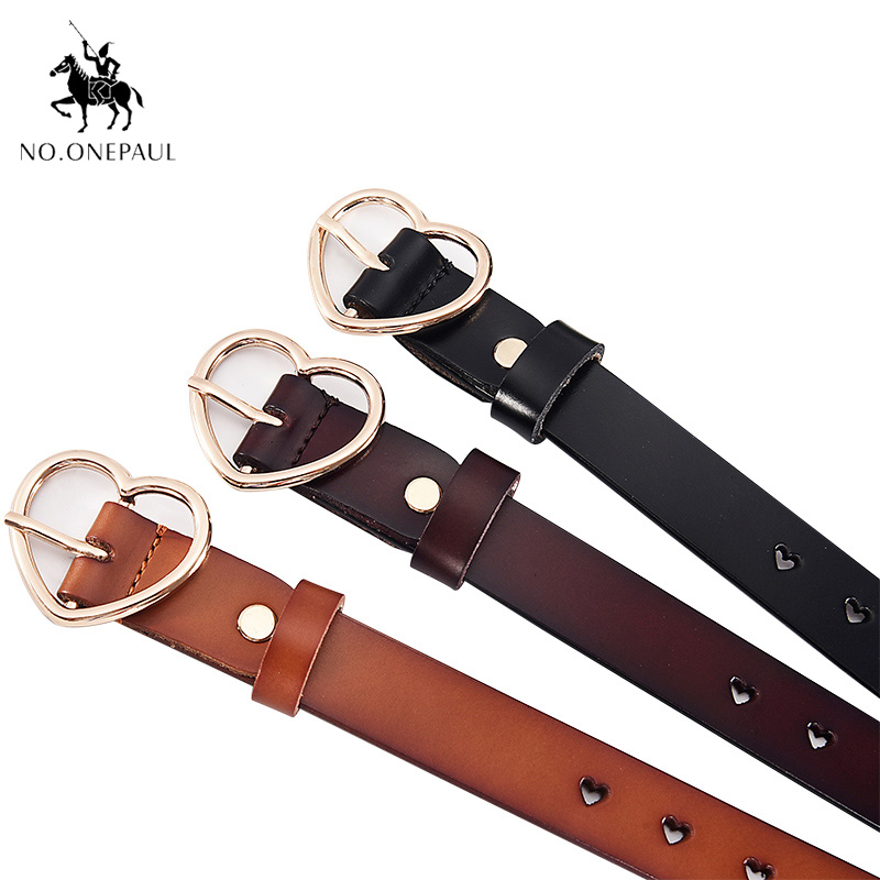 NO.ONEAUL Genuine cowhide lady's   belt   Genuine leather two-layer cowhide leisure whole body hole simple set of love button   belt