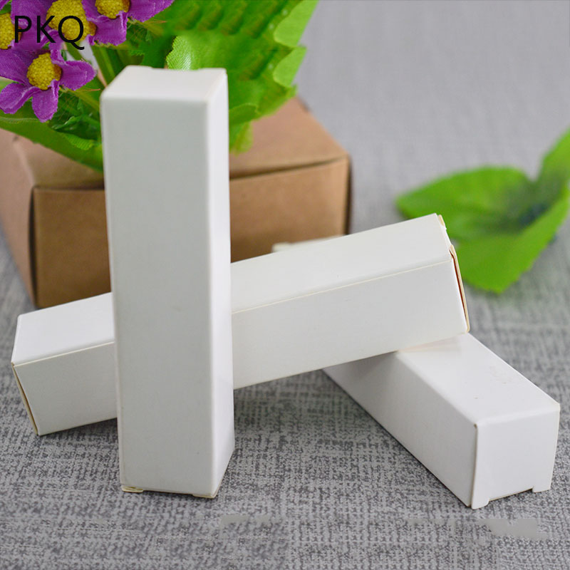 50pcs,White kraft paper box Lipstick Cosmetic Perfume Bottle cardboard Box Essential Oil Packaging Box gift canton,6 sizes