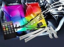 Бесплатная доставка 4×30 см салона Свет Звук активных RGB LED Декоративные Атмосфера стопы света Гибкая RGB