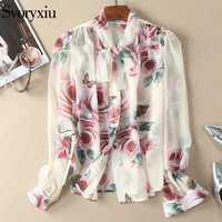 SVORYXIU Summer Shirts Top Women High Quality Long Sleeves Scarves Collar Rose Butterfly Printed Blouse
