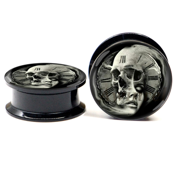 """Pair of Skull and Women Roman Numerals Time Clock Logo Screw on Black Acrylic Ear Gauges Plugs. Sizes available are from 2g to 1"""""""
