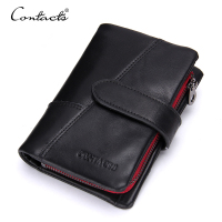 CONTACT'S Business Style Fashion Genuine Leather Men Wallets Hasp&Zip Men Purse With Coin Pocket Male Card Holder Short Wallet