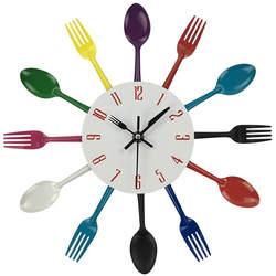 Дизайнерские настенные часы столовые приборы металлические Красочные ножи вилка ложка кухонные часы Креативный Современный домашний