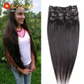 """Free Shipping 24""""(60cm)70g-125g 20 Colors Long Straight Human Hair Clip In On Hair Extensions Blonde Real Human Hair Full Head"""