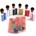 1 unids Moda estilo de Metal Telescópica Powder Blusher del Maquillaje Cepillo de Pelo Suave + 1 unids Esponja Cosmética Puff maquillaje Profesional herramientas de belleza