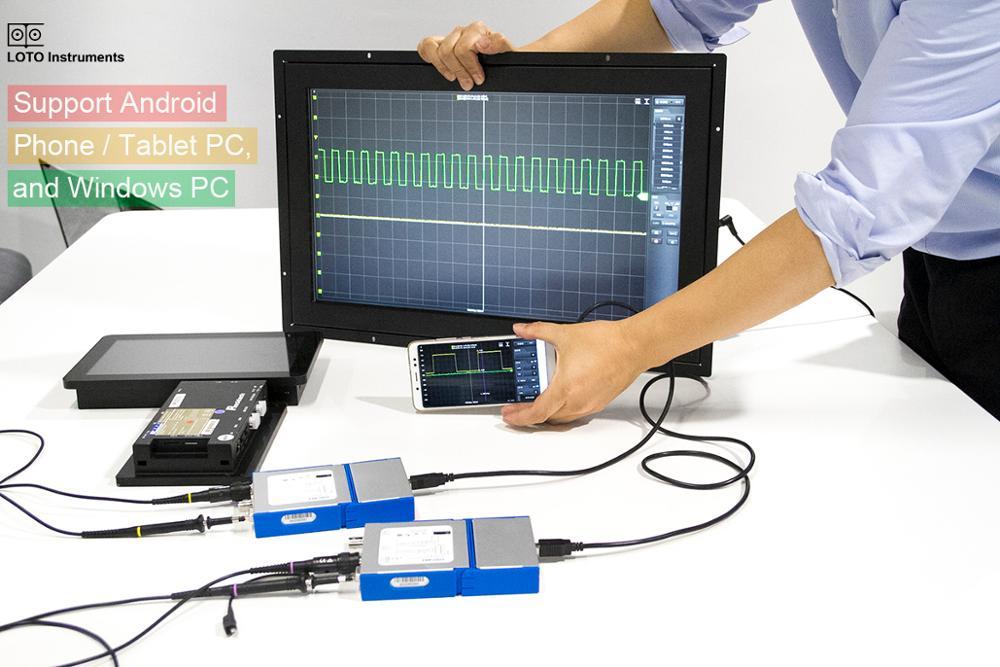 2 CH USB Virtual PC Osciloscópio Digital 20M Banda 50 MSa/s Taxa de Samplinmg Suporte por Telefone Android