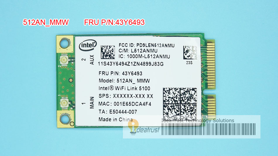 5100AN For Intel WiFi Link 5100 5100AN 512AN_MMW 512ANMMW  FRU 43Y6493 WiFi Wireless Network Card For Lenovo R400 R500 Y450 G450