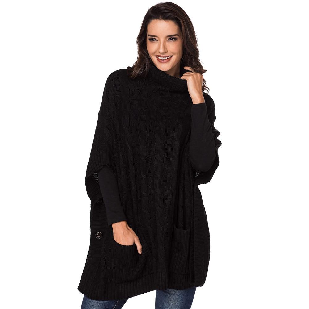 Roulé Femmes Noir Pull Tricoté De gris Poche Bouton kaki Col Conception Nouveau pTTSfnrC