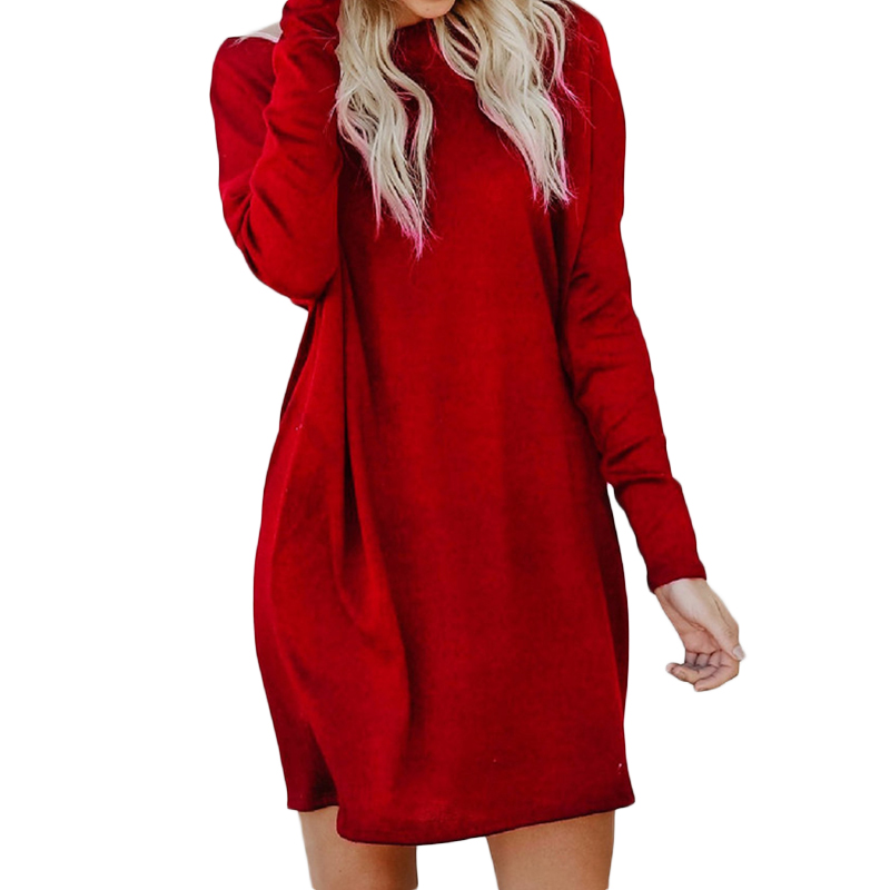 2XL Large Size Woman Mini Dress Long Sleeve Round Neck Tunic Dresses For Women Loose Casual Vestidos De  Knitted ClothesWS5018Z stylish round neck long sleeve stereo flower embellished knitted dress for women