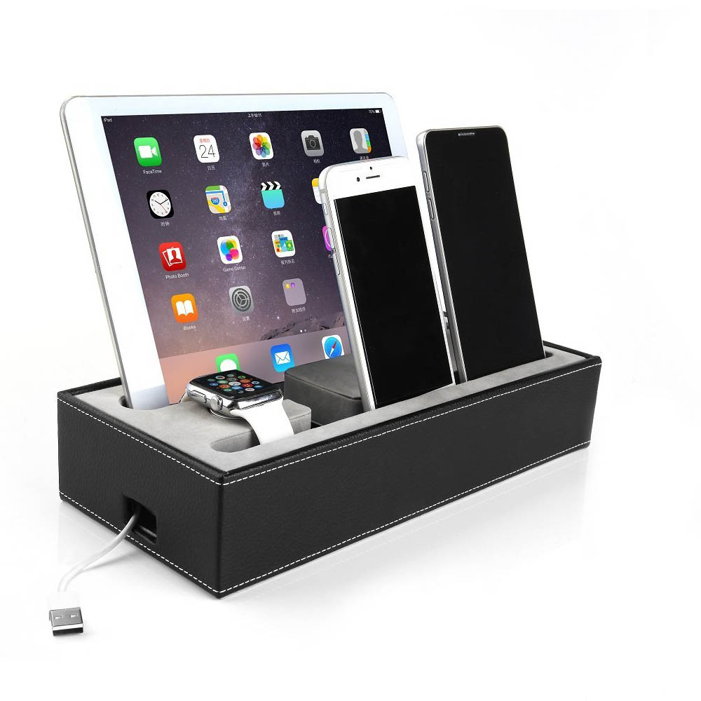 Luxury Leather Universal Charging Desk Mobile Phone Stand Holder Smartphone Tablet Stand For iPad For iPhone