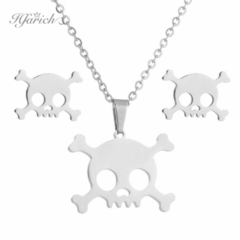 Hfarich Gothic Shantou Pendant Necklace Stainless Steel Hip Hop Stud Earrings Jewelry Sets Men Subang