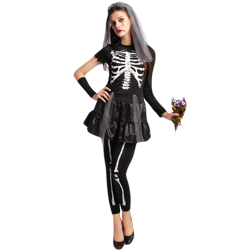 Bleeding Zombie Costume Cosplay Corpse Bride Cosplay Halloween Costume Vampire Ghost Party Scary Suit For Adult Women W5389248