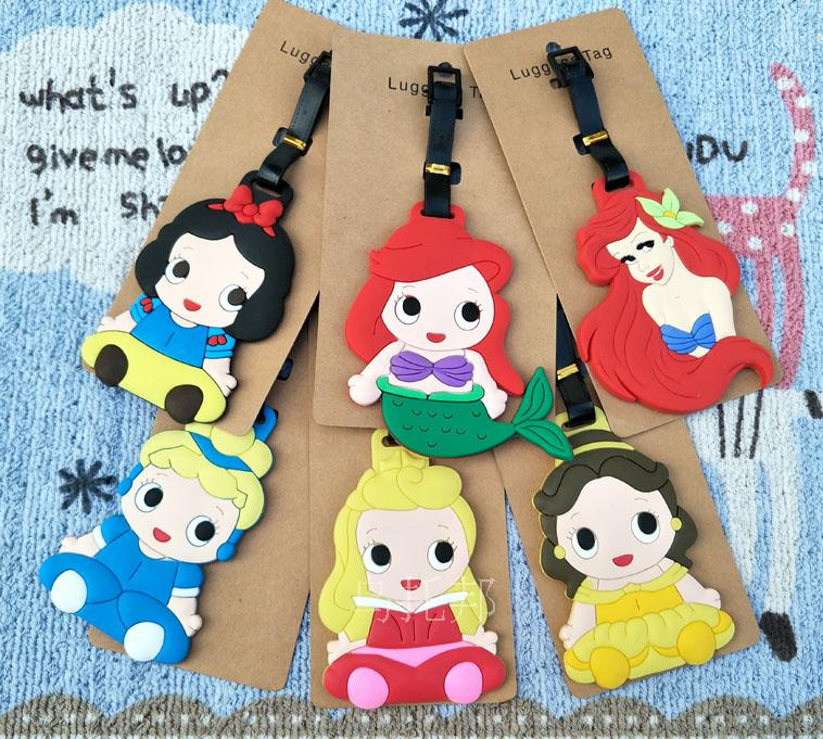 2018 Maleta De Viaje Lovely Mermaid Snow Princess Patti Baer Fish Beauty Soft Gelatin Luggage Tag Boarding Cartoon Cute Card ...