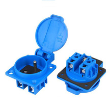 2PCS French Industry Safety Outlet 16A 250V IP44 NF Certification Blue European Waterproof Power Connector Socket